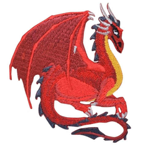 "Fantasy Dragon Applique Patch - Red, Good Luck, Power, Strength 3"" (Iron on)"