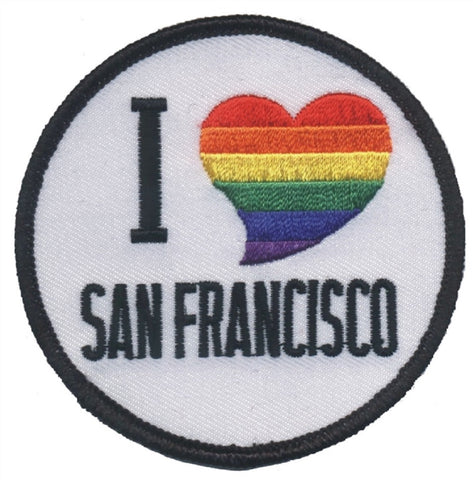 "San Francisco Patch - I Love SF, Rainbow, Heart, California Badge 3"" (Iron on)"