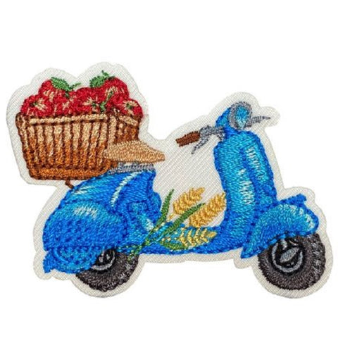 "Scooter Applique Patch - Apples, Fruit, Moped Badge 2-1/4"" (Iron on)"