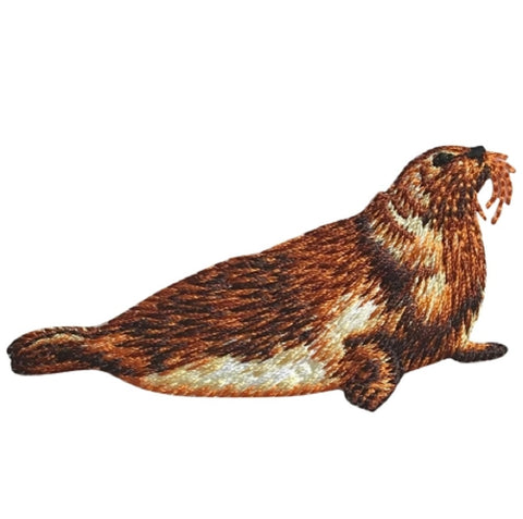 "Seal Applique Patch - Brown Marine Mammal 3-1/8"" (Iron on)"