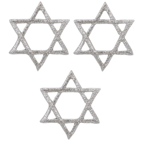 "Silver Star of David Applique Patch - Jewish, Judaism, Hanukkah 1"" (3-Pack, Iron on)"