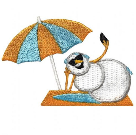 "Snowman Applique Patch - Sunbathing, Umbrella, Beach Body 2.5"" (Iron on)"