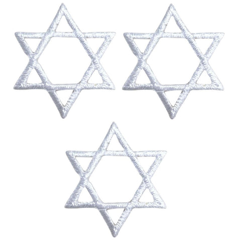 "White Star of David Applique Patch - Jewish, Judaism, Hanukkah 1"" (3-Pack, Iron on)"