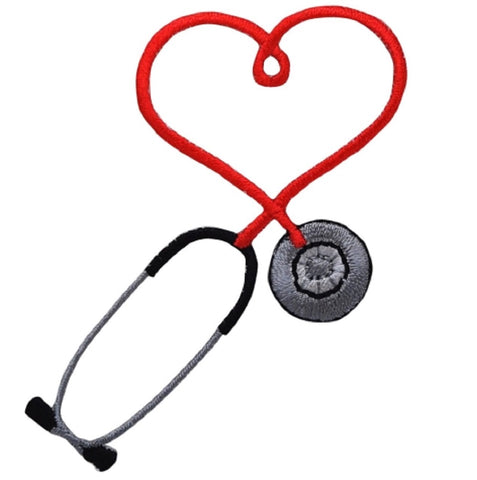 "Stethoscope Applique Patch - Red Heart, Love, Doctor, Nurse Badge 2.75""(Iron on)"