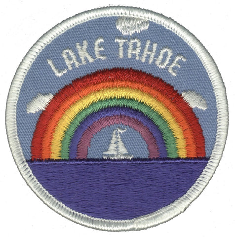 "Vintage Lake Tahoe Patch - California, Nevada, Rainbow, Sailboat 3"" (Iron on)"
