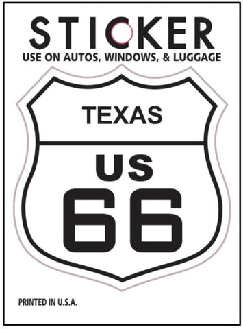 "Texas Route 66 Vinyl Sticker - TX Road Sign, Fade Resistant, 2.625"" wide x 2.75"" tall"