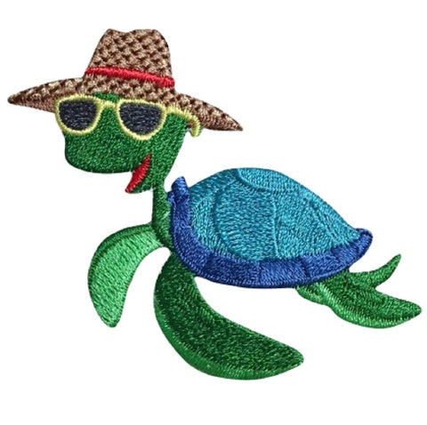 "Turtle Applique Patch - Sunhat, Vacation 3"" (Iron on)"