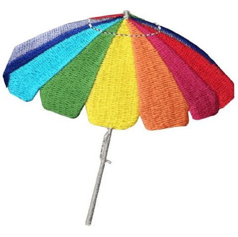 "Beach Umbrella Applique Patch - Rainbow 3-3/8"" (Iron on)"