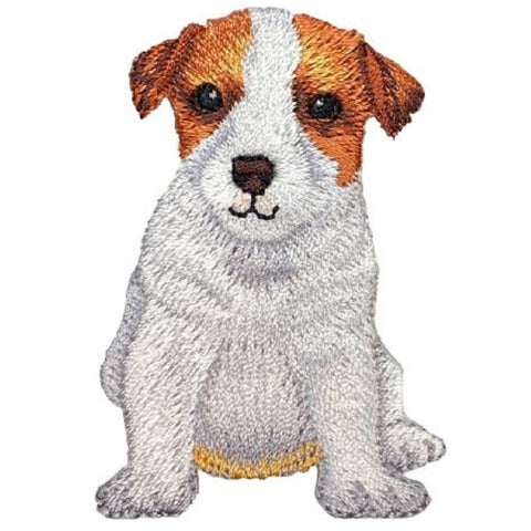 "Jack Russell Terrier Applique Patch - Dog, Puppy Badge 2-1/8"" (Iron on)"