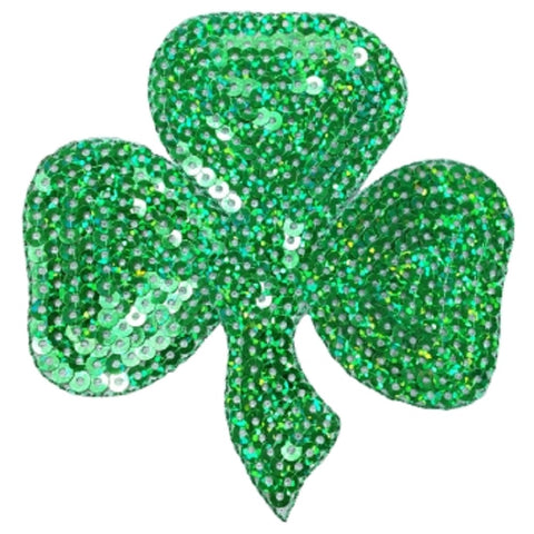 "Shamrock Applique Patch - Sequin, Clover, Good Luck Badge 4"" (Iron on)"