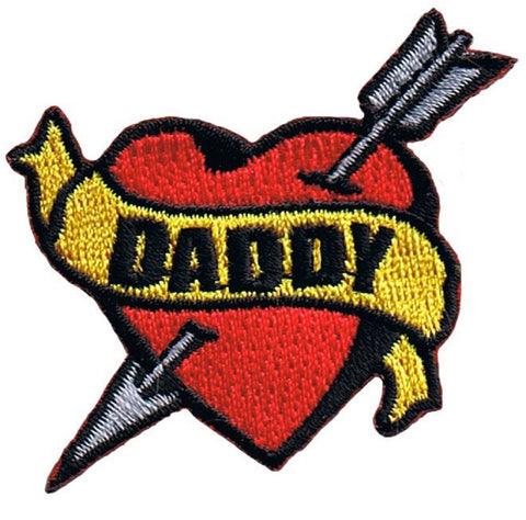 "Daddy Tattoo Patch - Arrow Through Heart, I Love Dad Badge 2.25"" (Iron on)"