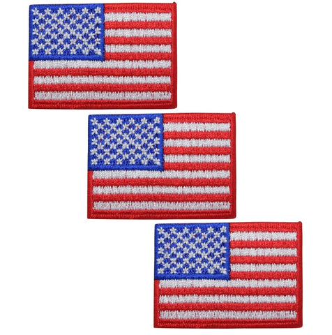 "American Flag Applique Patch - USA, United States Badge 2"" (3-Pack, Iron on)"