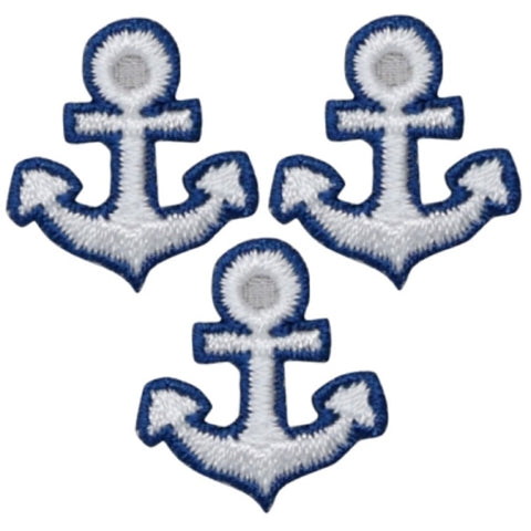 "Anchor Applique Patch - Nautical Shield Badge 7/8"" (3-Pack, Iron on)"