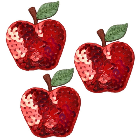 "Apple Applique Patch - Sequin, Fruit, Food Badge 1.75"" (3-Pack, Iron on)"