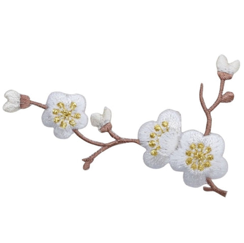 "Cherry Blossom Applique Patch - Branch , Flower, Tree Badge 3-1/8"" (Iron on)"
