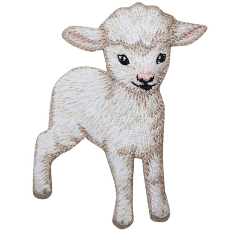 "Lamb Applique Patch - Baby Sheep Badge 2.75"" (Iron on)"