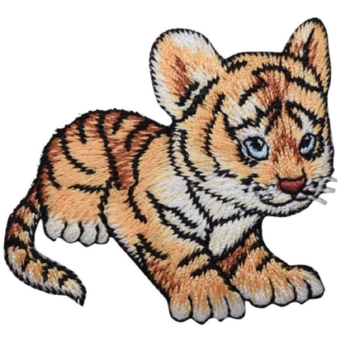 "Tiger Cub Applique Patch - Baby Animal Badge 2.25"" (Iron on)"