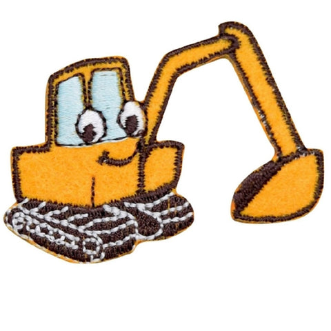 "Backhoe Applique Patch - Digger, Tractor, Construction Badge 2-1/8"" (Iron on)"