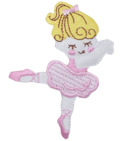 "Ballerina Applique Patch - Ballet Dancer, Bow, Pink 2.5"" (Iron on)"