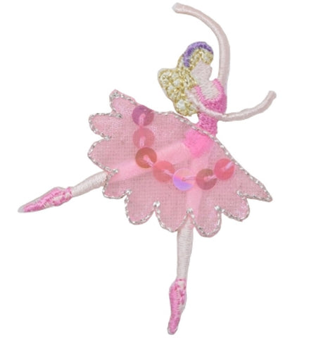 "Ballerina Applique Patch - Ballet Dancer Badge, Sequins 3"" (Iron on)"