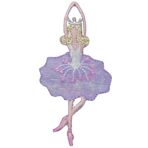 "Ballerina Applique Patch - Ballet Dancer, Bow, Sequins 3.25"" (Iron on)"