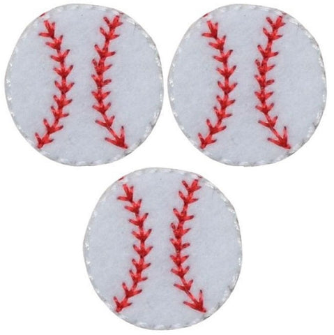 "Baseball Applique Patch 3/4"" (3-Pack, Mini, Iron on)"