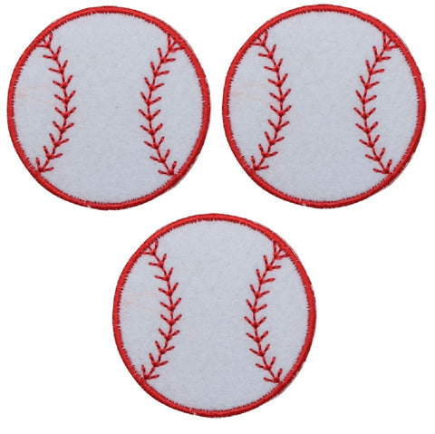 "Baseball Applique Patch - Sports Badge, Felt 2"" (3-Pack, Iron on)"