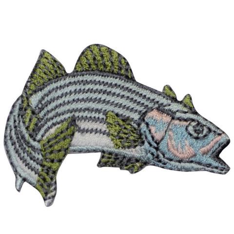 "Striped Bass Applique Patch - Fish, Fishing, Fisherman Badge 2"" (Iron on)"