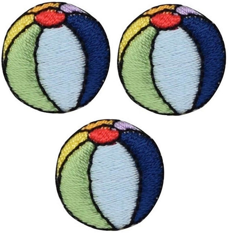 Beach Ball Applique Patch (3-pack, Small, Iron on)