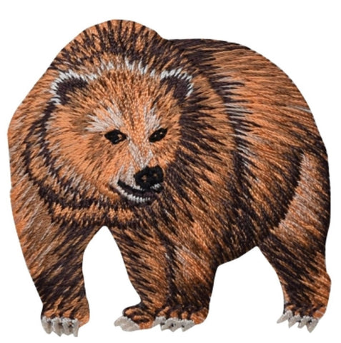 "Kodiak Grizzly Bear Applique Patch - Alaskan Brown Bear Animal 2.25"" (Iron on)"