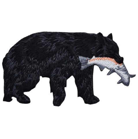 "Bear Applique Patch - Salmon, Fish, Black Bear Badge 3-1/8"" (Iron on)"