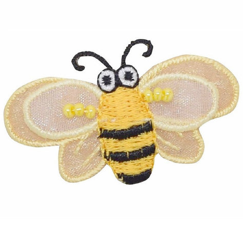 "Bumblebee Applique Patch - Layered, Beads, Honey Bee 2-5/8"" (Iron on)"
