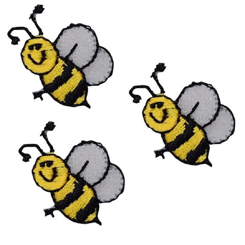 "Honey Bee Applique Patch - Bumblebee, Insect, Bug Badge 1"" (3-Pack, Iron on)"