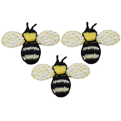 "Mini Bumblebee Applique Patch - Bee, Insect, Bug Badge 3/4"" (3-Pack, Iron on)"
