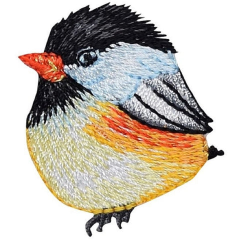 "Chickadee Applique Patch - Bird Badge 1.5"" (Iron on)"