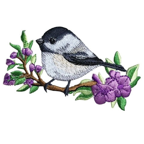 "Chickadee Bird Applique Patch - Branch, Flowers 3.5"" (Iron on)"