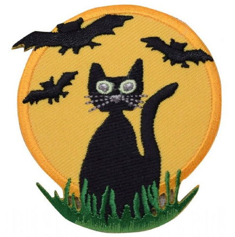 "Black Cat Applique Patch - Halloween, Bats, Full Moon 2-3/4"" (Iron on)"