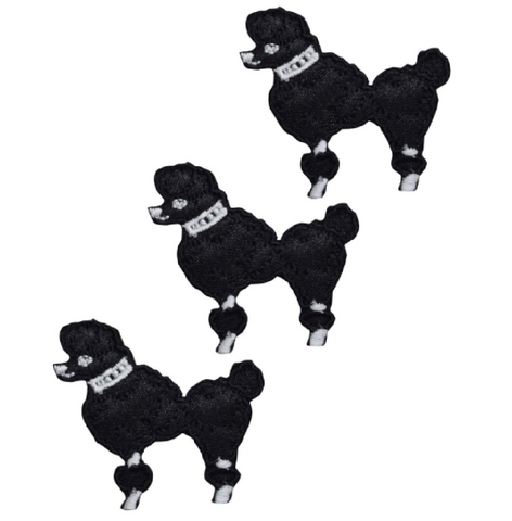 Poodle Dog Applique Patch - Facing Left, Black (3-Pack, Small, Iron on)
