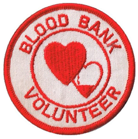 "Vintage Blood Bank Volunteer Patch - Donate Blood 3"" (Sew on)"
