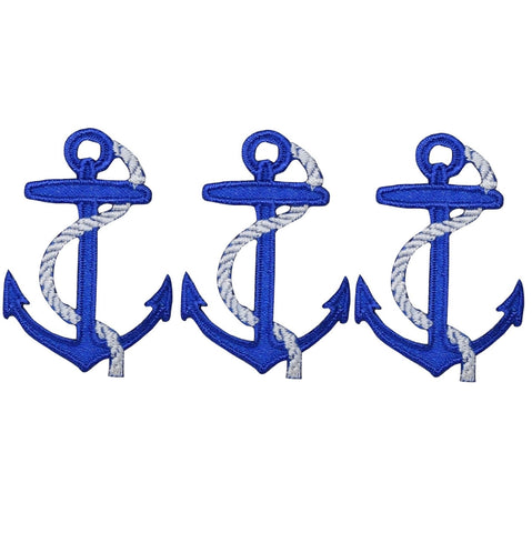 "Anchor Blue Applique Patch - Blue, White, Rope 1.75"" (3-Pack, Iron on)"