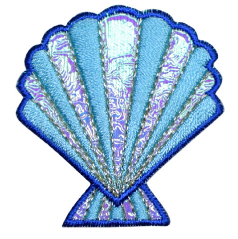 "Seashell Applique Patch - Sea Shell, Ocean, Blue, Shimmery 1-7/8"" (Iron on)"