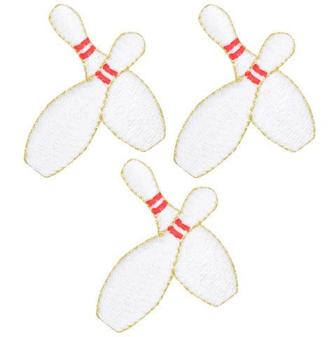 "Bowling Pins Applique Patch 1-7/8"" (3-Pack, Iron on)"