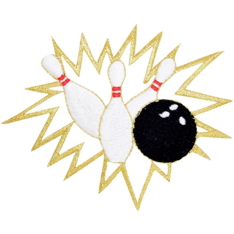 "Bowling Applique Patch - Pins and Bowling Ball Badge 4"" (Iron on)"