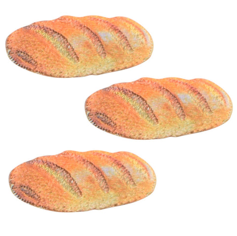 "French Bread Applique Patch - Loaf, Baguette, Bakery 1-1/8"" (3-Pack, Iron on)"