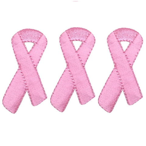 "Pink Ribbon Applique Patch - Breast Cancer Awareness 1-7/8"" (3-Pack, Iron on)"