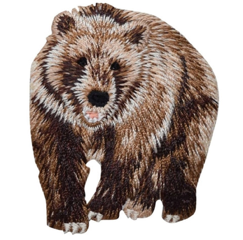"Bear Applique Patch - Brown Grizzly Bear, Animal Badge 2.25"" (Iron on)"