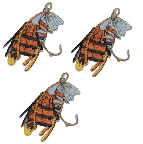 Fly Fishing Applique Patch - Brown and Yellow (3-Pack, Small, Iron on)