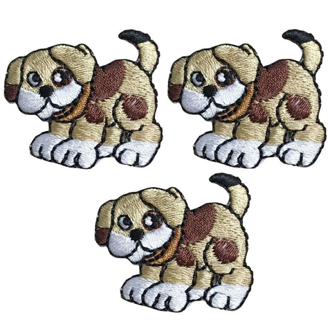 Puppy Dog Applique Patch - Brown (3-Pack, Small, Iron on)