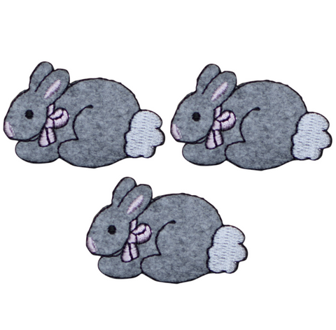 "Bunny Rabbit Applique Patch - Baby Cottontail, Pink Bow 1.75"" (3-Pack, Iron on)"