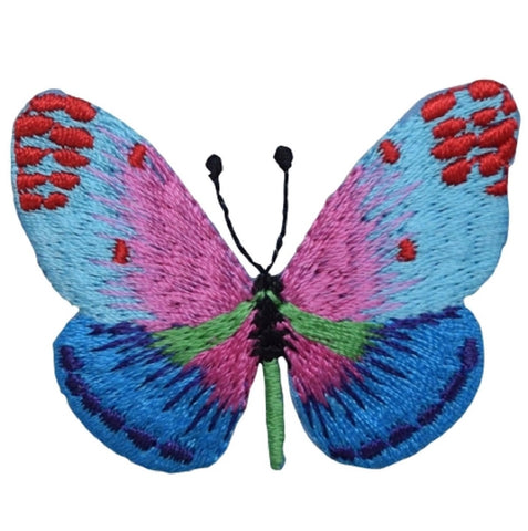 "Butterfly Applique Patch - Blue and Pink, Insect Badge 2"" (Iron on)"